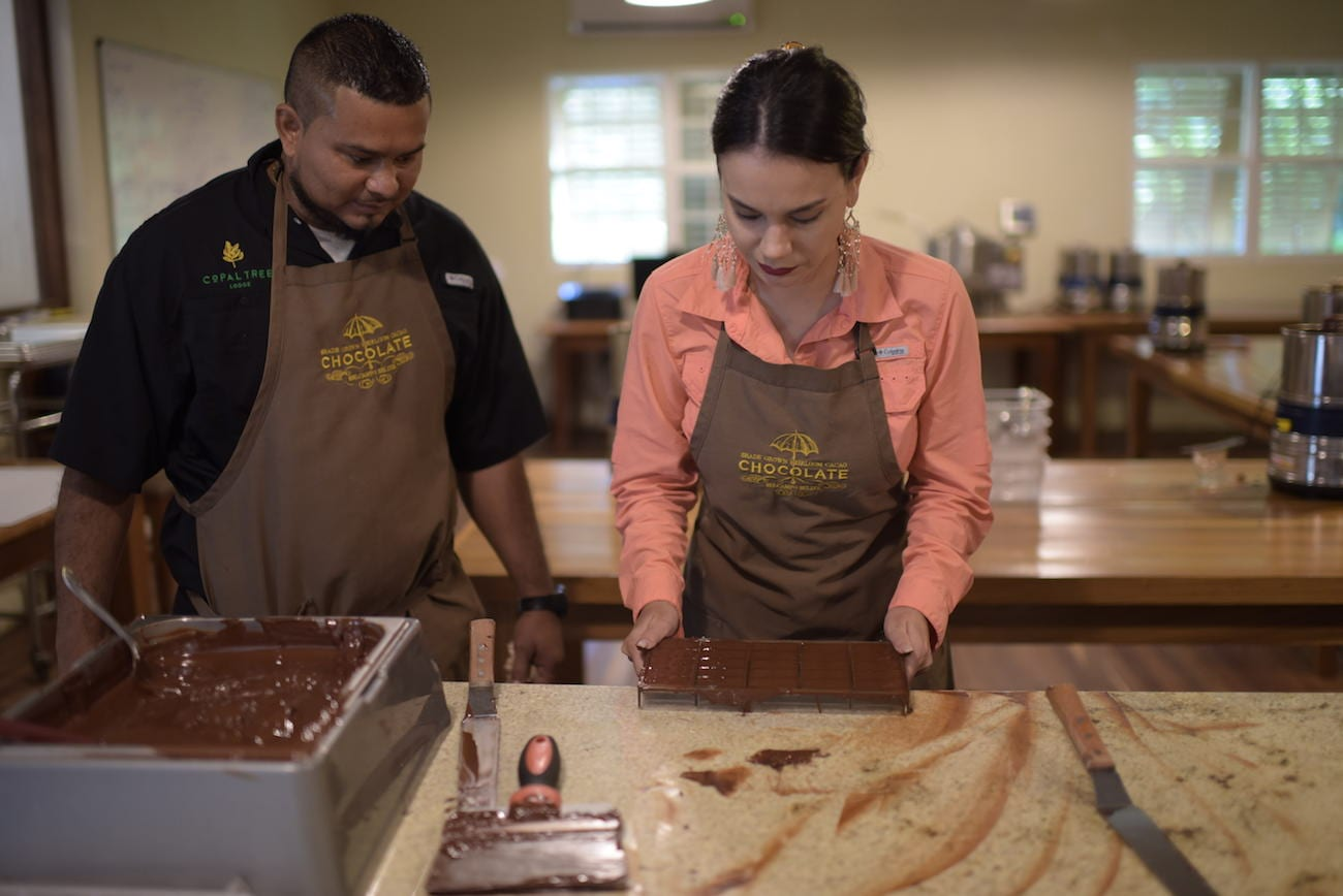 Chocolate making class at Copal Tree Lodge.