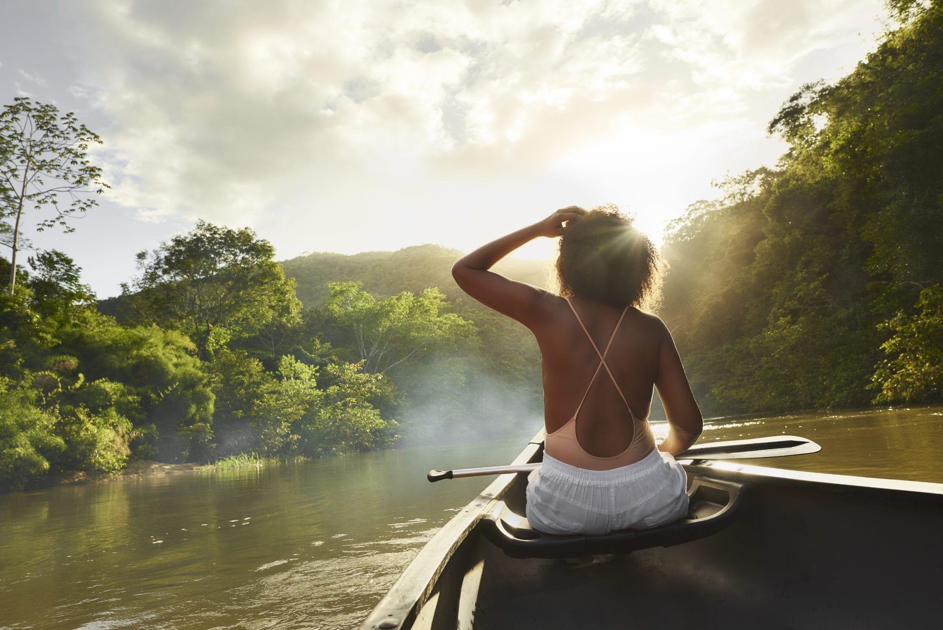 canoe ride in San Ignacio Macal River