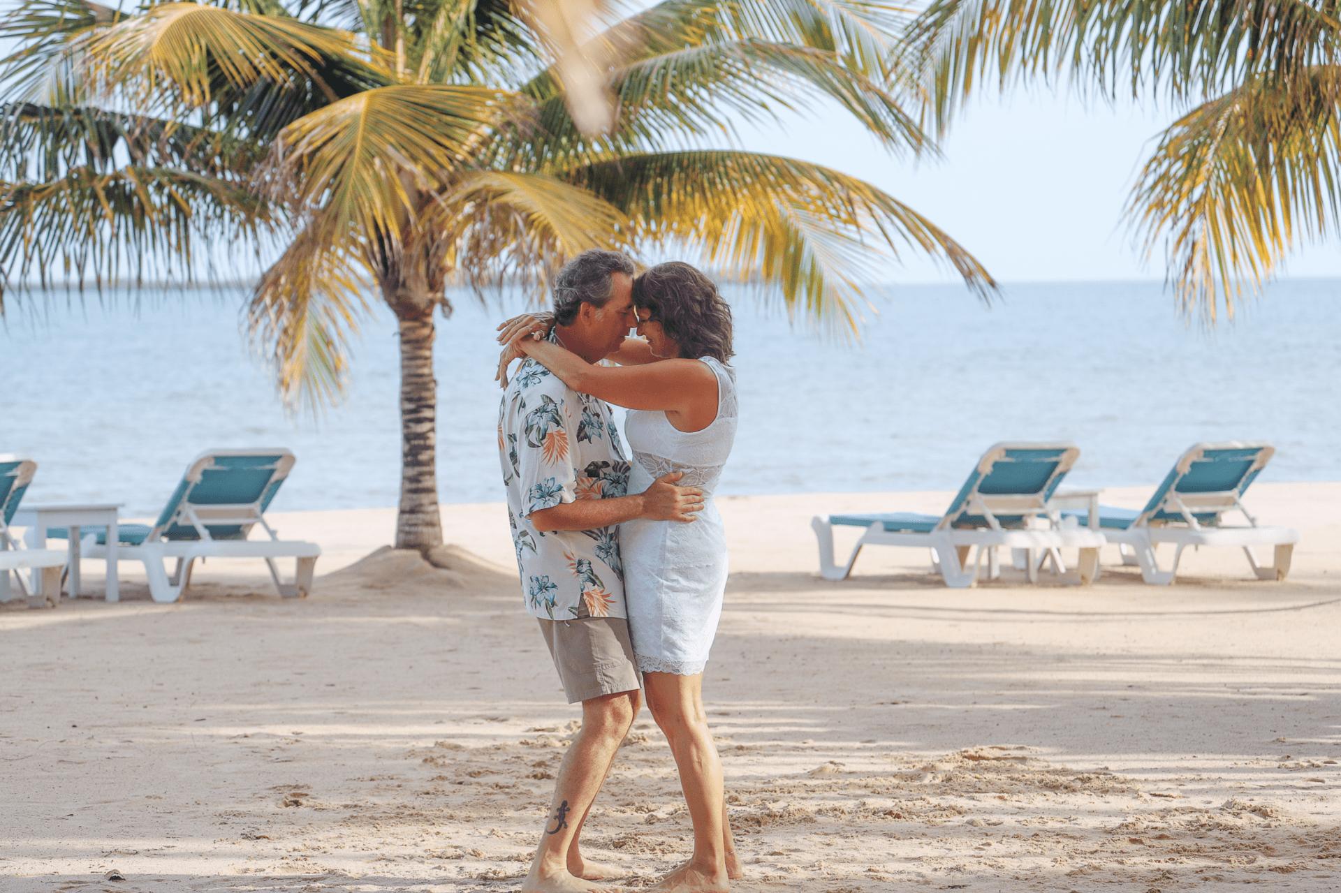 couple beach placencia wedding elope