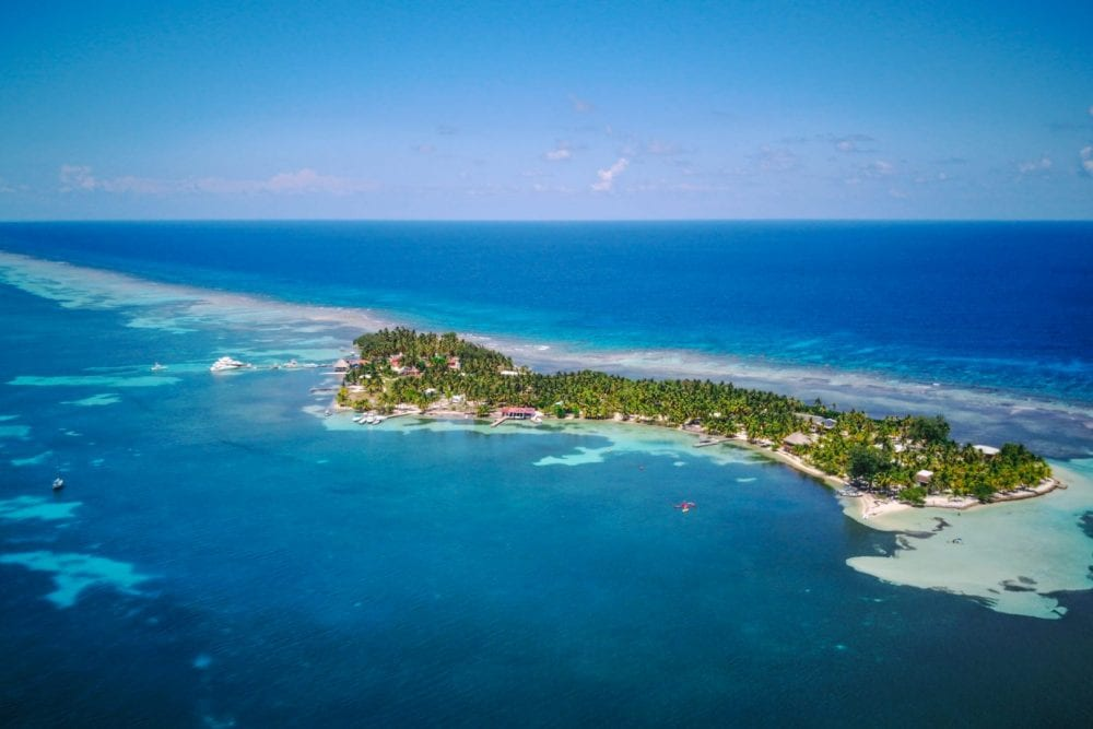 South Water Caye belize island aerial