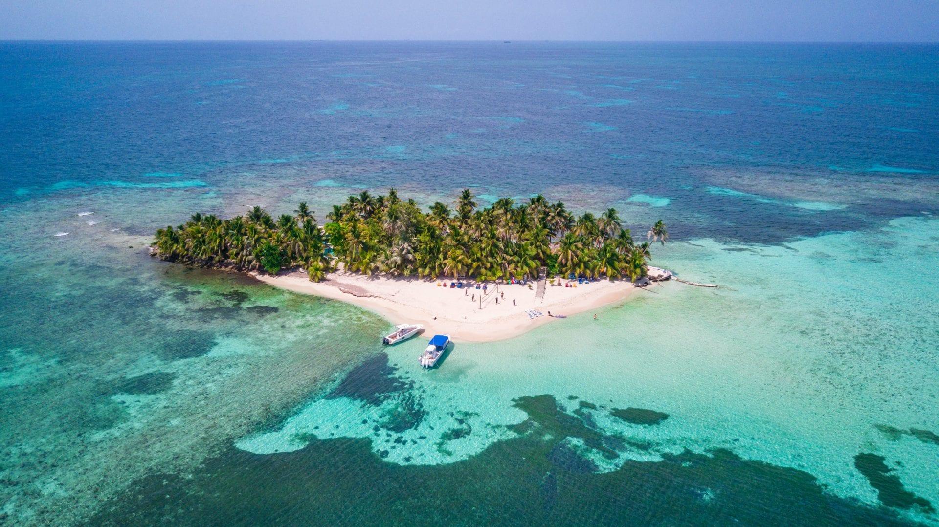 Ranguana Caye caribbean island aerial