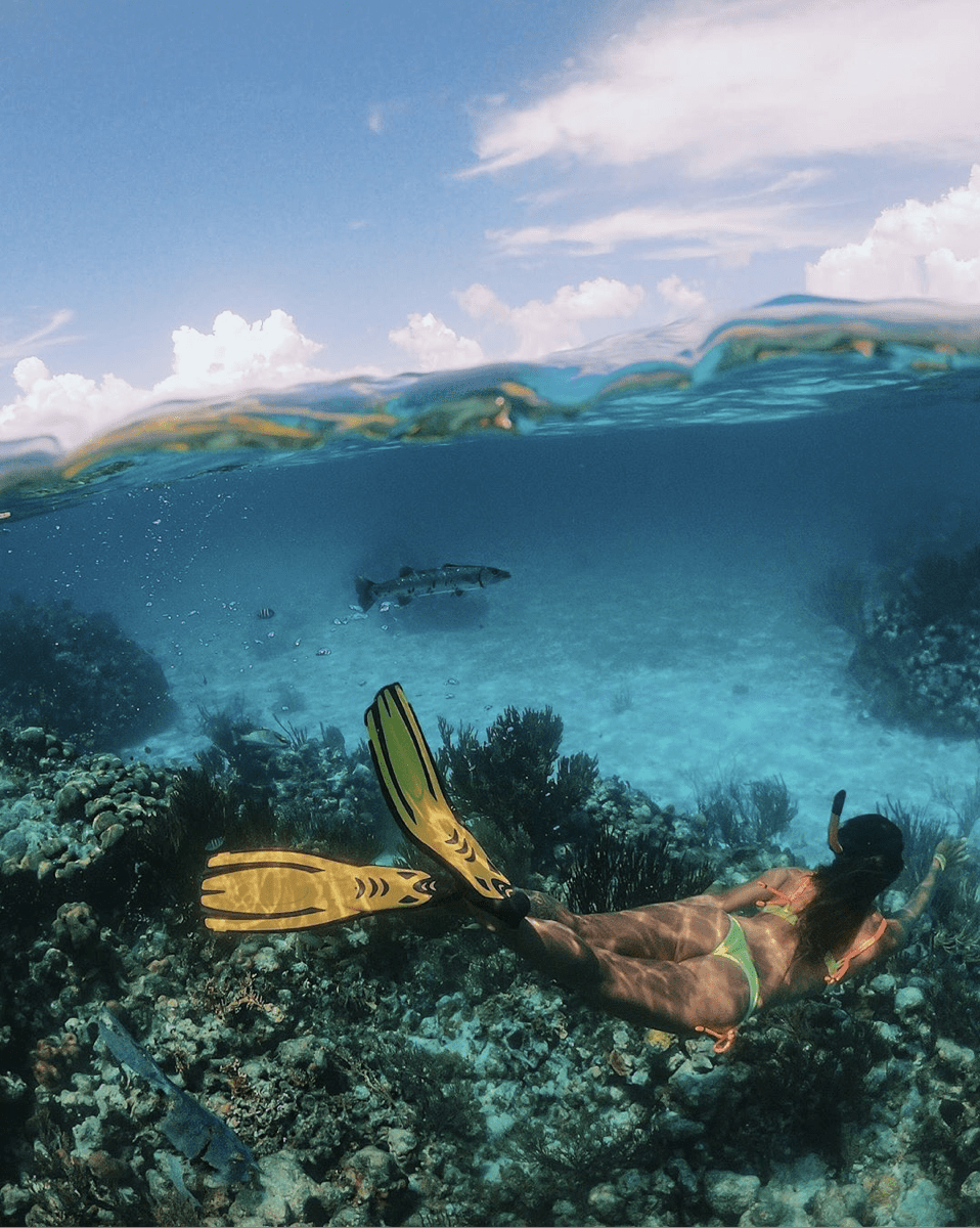 underwater girl snorkelling