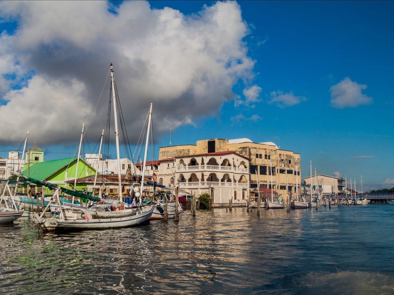 Belize City waterfront sailboats