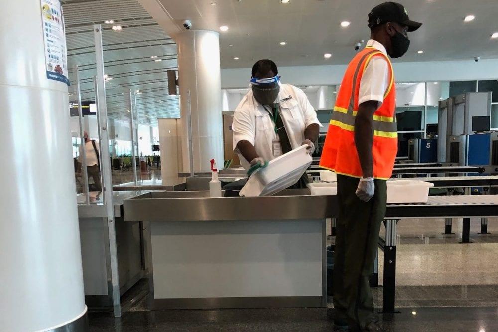 sanitization airport US america Antigua caribbean