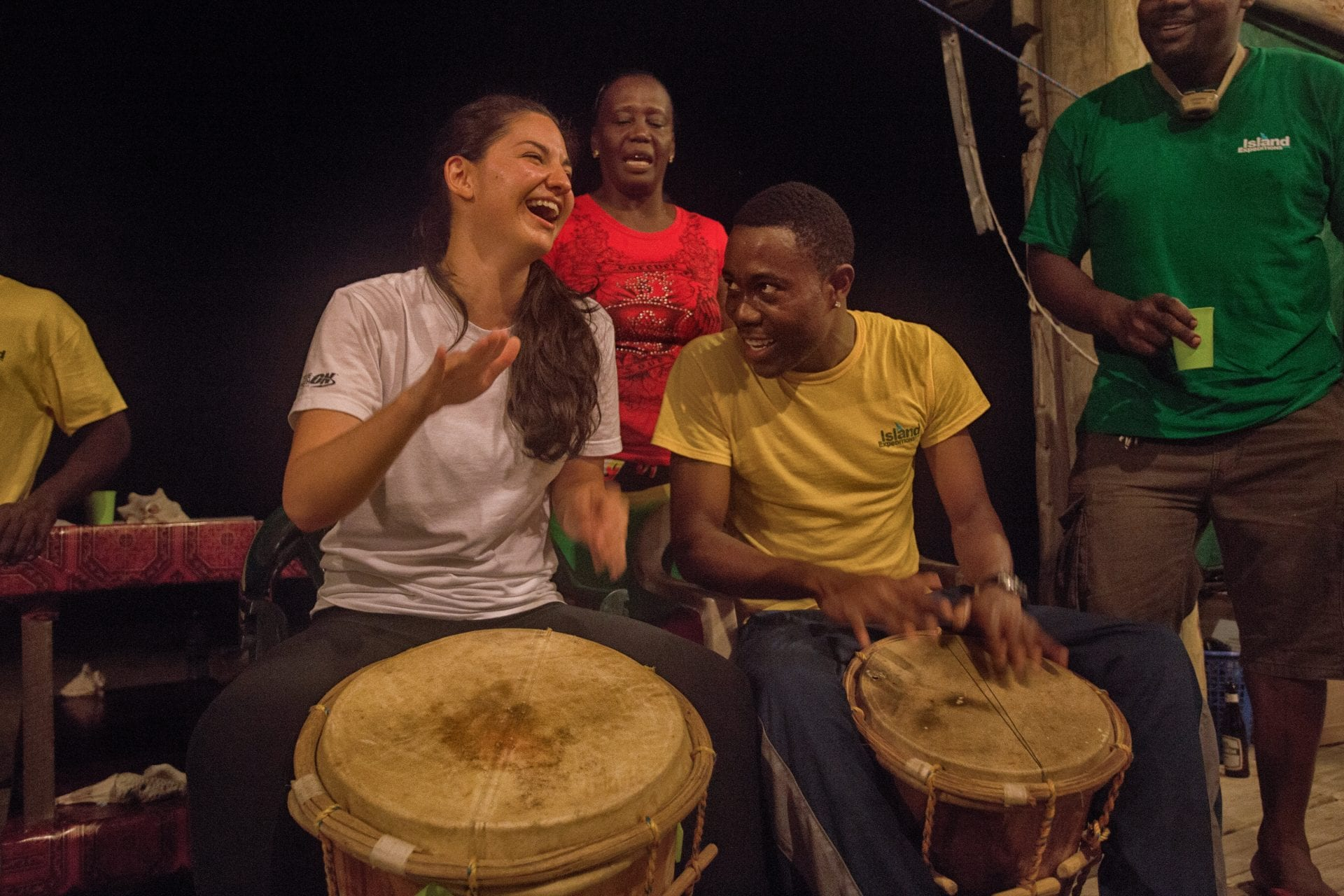 friendly smiles Duarte drums Garifuna teach