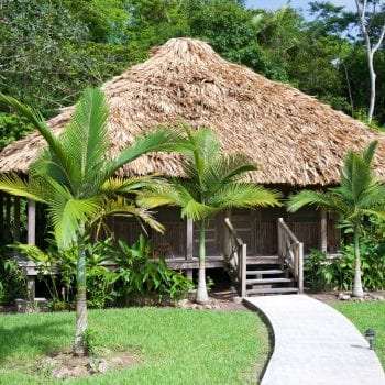 The four lovely hardwood thatched cabañas at La Milpa Lodge are in tune with the natural surroundings  of the Rio Bravo Conservation and Management Area.