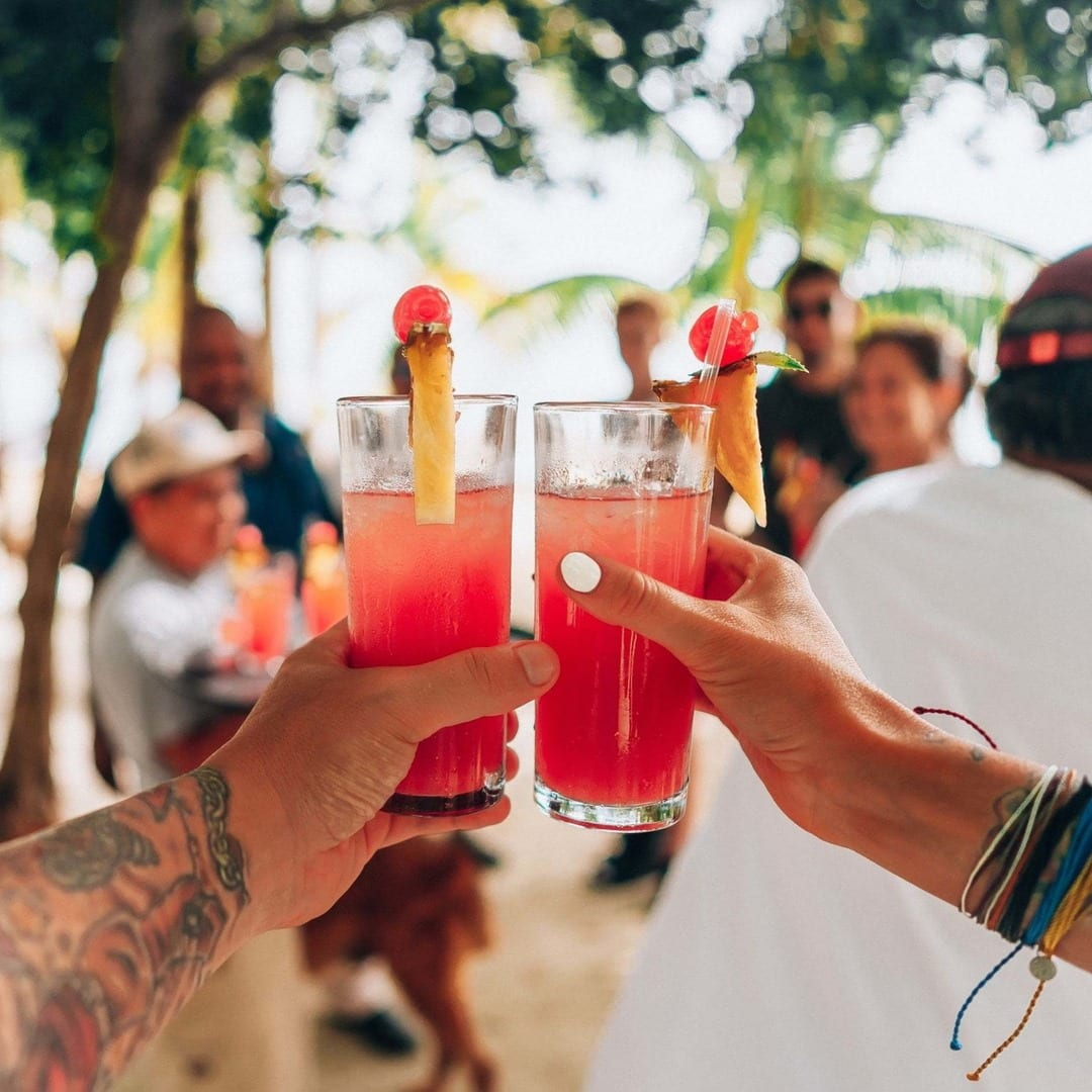 thatch caye welcome drinks belize surprise