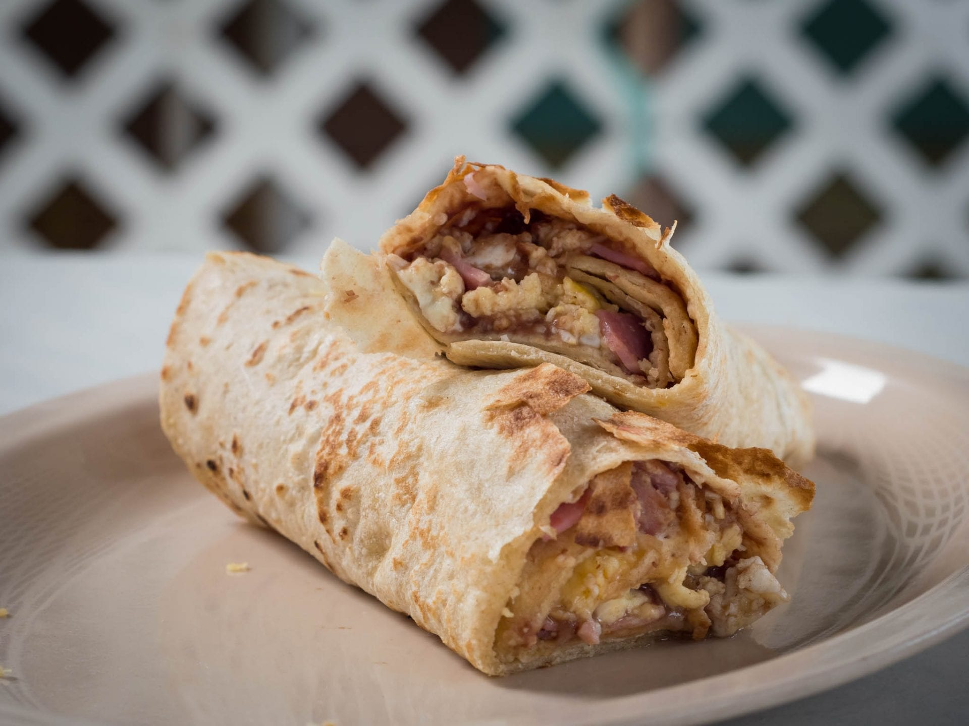 Belizean breakfast burrito