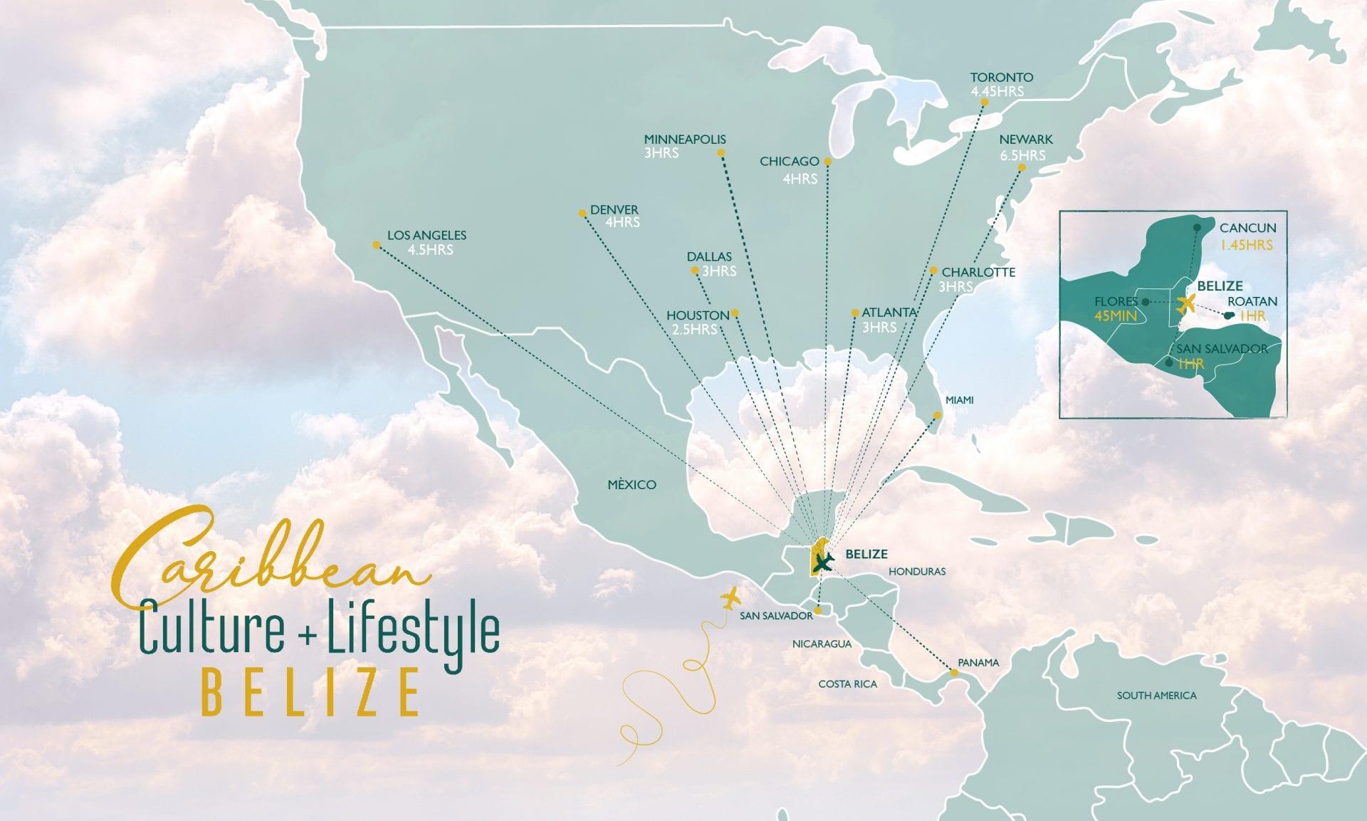 belize map of flying flights airlines