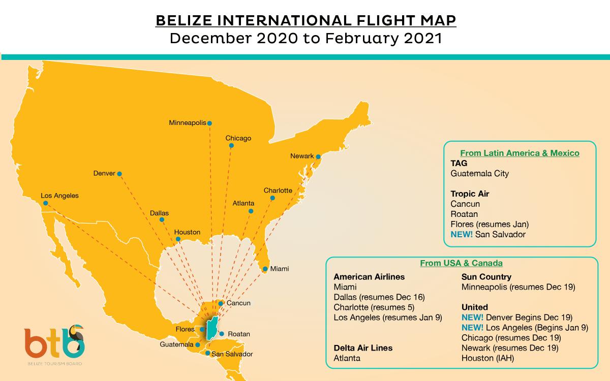 Belize-International-Flight Map 2020