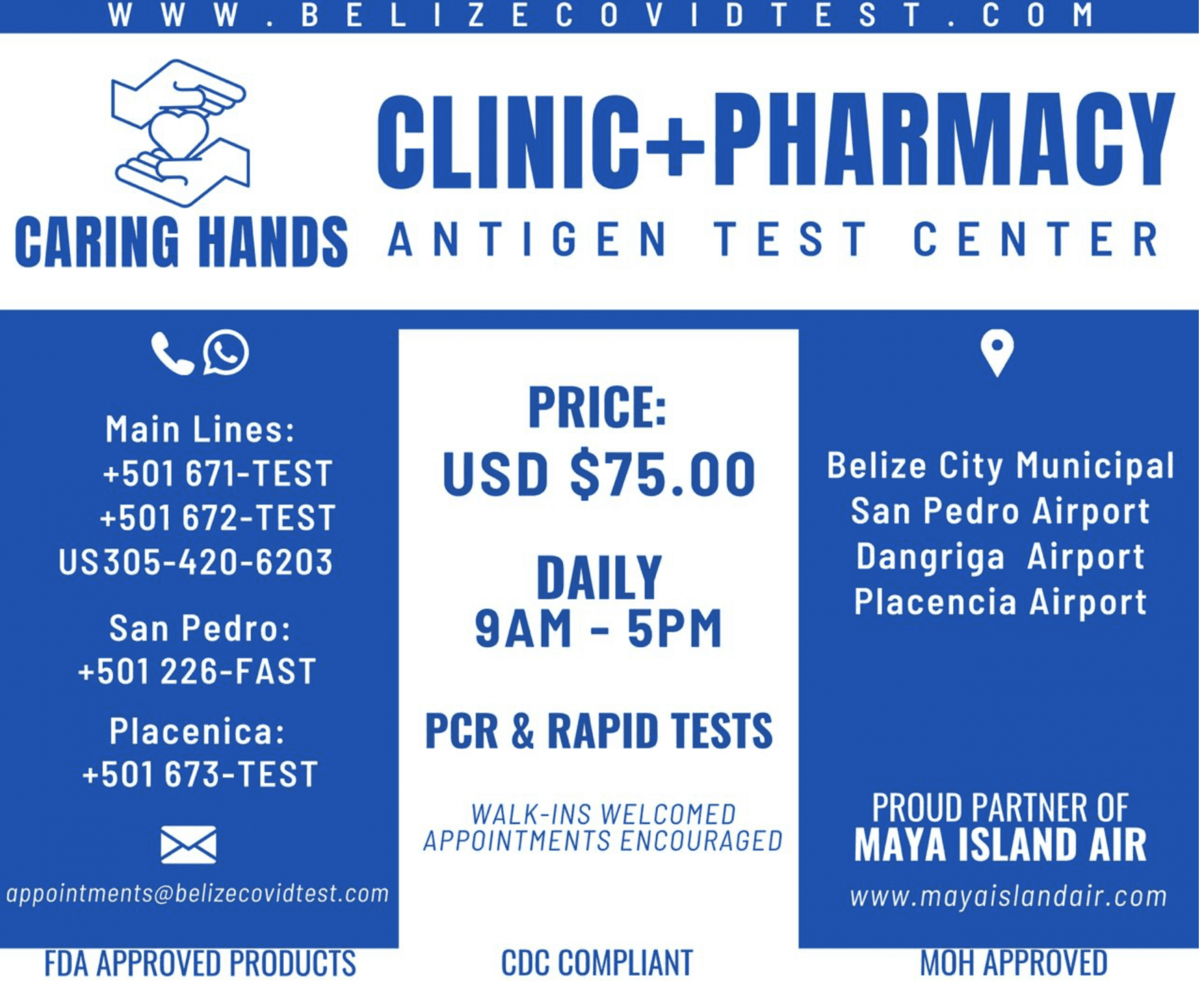 Maya island air caring hands clinic covid test belize
