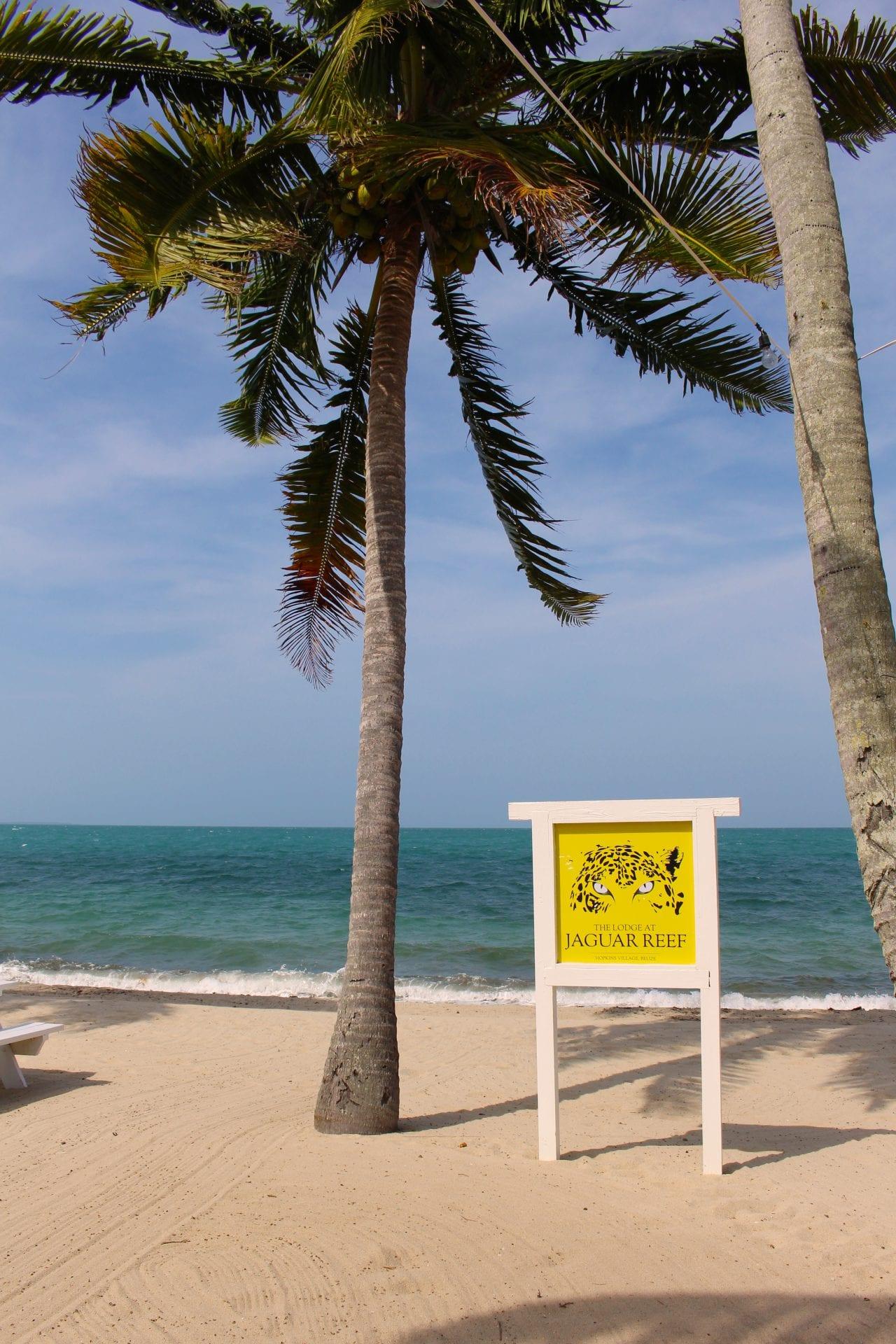 Jaguar Reef lodge beach sign cchanona