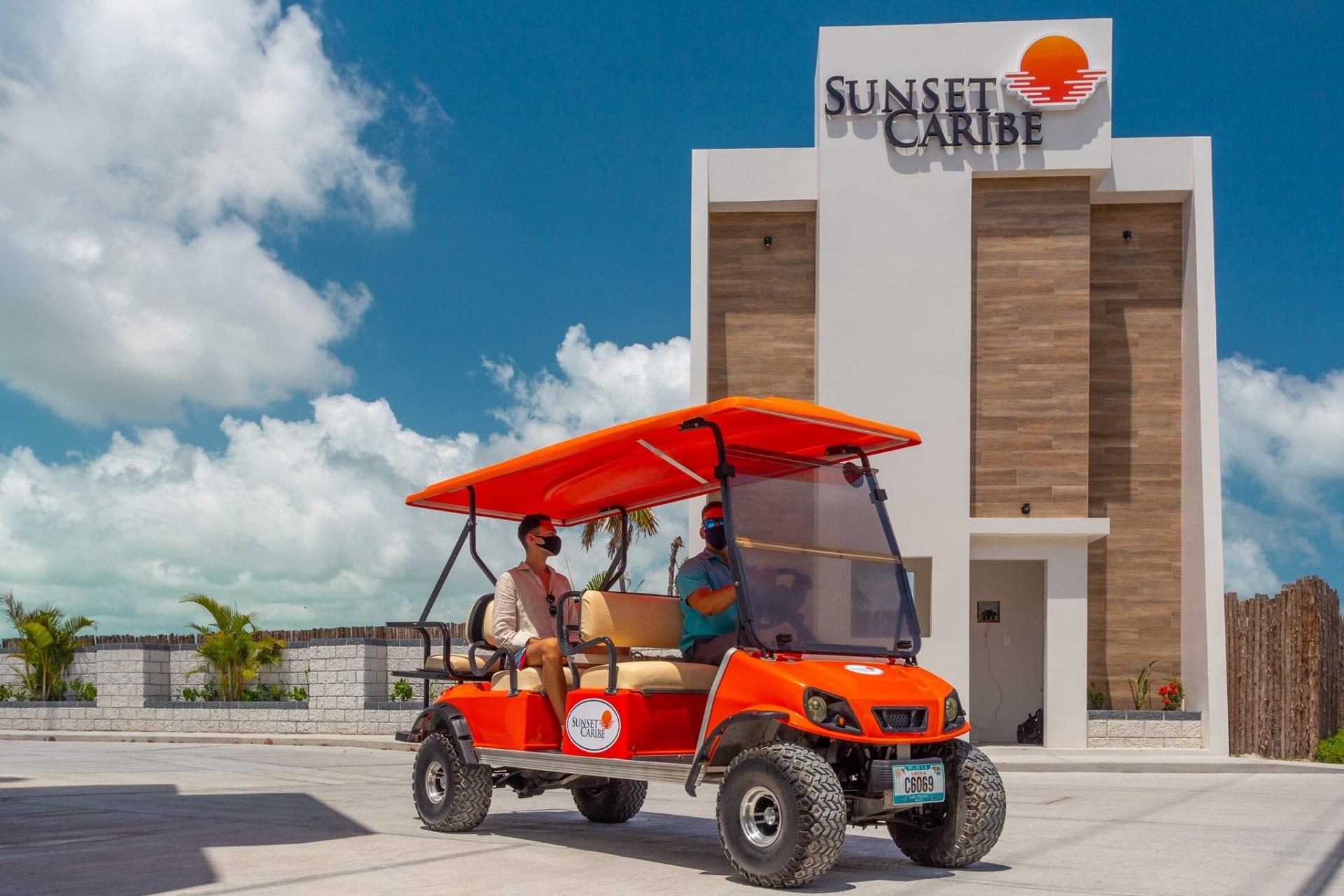 golf-carts-face-masks-belize-sunset-caribe-san-pedro-ambergris-caye
