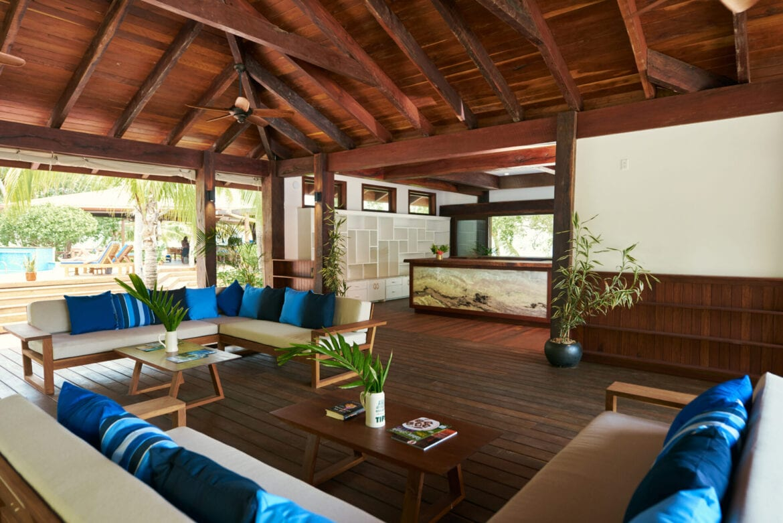 Ray Caye island resort Belize lobby
