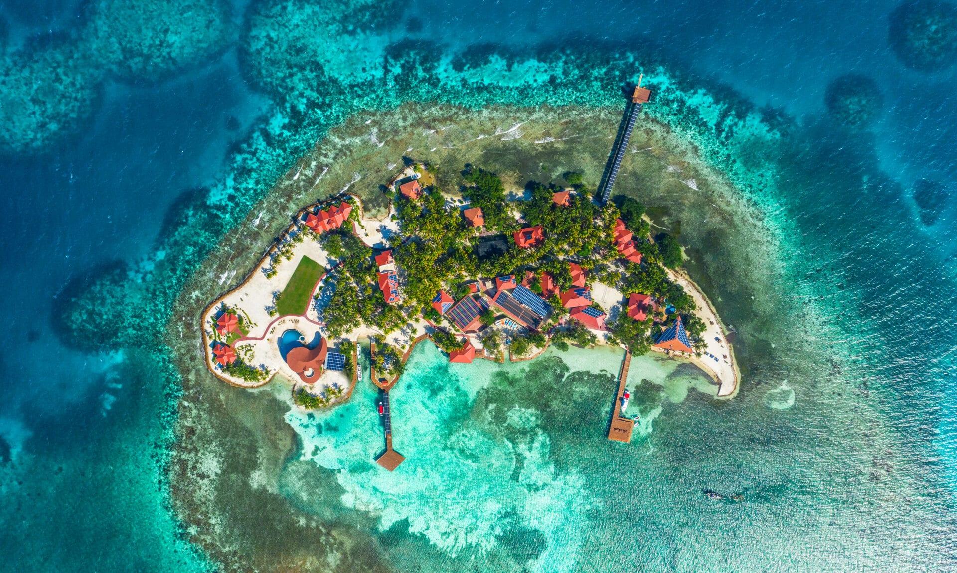 Ray Caye aerial drone Duarte Dellarole island resort belize